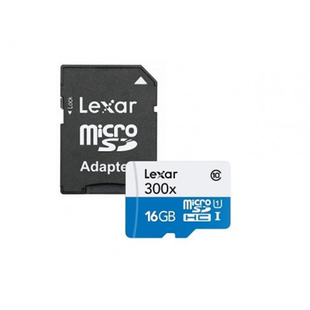Lexar 16GB microSDHC C10 300x with adapter high speed / Reads microSD, microSDHC, and M2 memory cards New