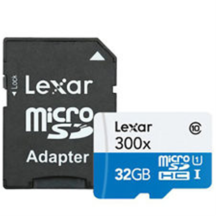 Lexar 32GB microSDHC C10 300x with adapter high speed / Reads microSD, microSDHC, and M2 memory cards New