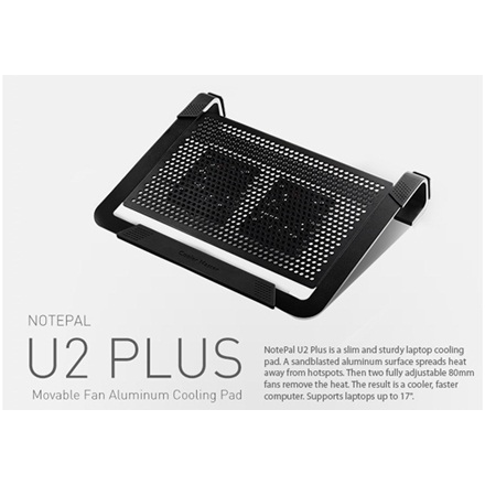 "Cooler master notebook cooler ""Notepal U2 PLUS"" for up to 17"" nb, 2x80 mm  fan, black"