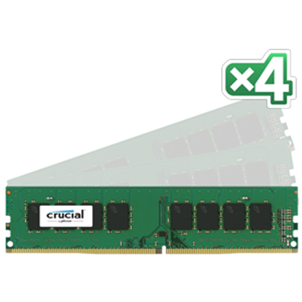 Crucial 16GB (4GBx4) DDR4 UDIMM PC4-17000 2133MT/s, CL=15, Single Ranked x8, Unbuffered, NON-ECC, 1.2V, 512M x 64
