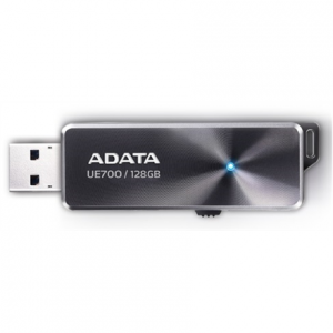 Oheislaitteet->USB Muistitikut : A-DATA Elite UE700 128GB Black USB 3.0 Flash Drive.  Takuu: 24 kk.