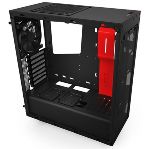 Komponentit->PC kotelot : NZXT S340, black/red,  Midl tower with Window, 2x USB 3.0;  w/o PSU, mATX / ATX.  Takuu: 24 kk.